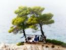 Svatba na útesu Amarandos, Řecko, Skopelos