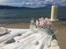 Dekorace obřadního stolku, svatba na pláži, ostrov Zakynthos